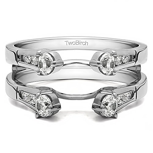 0.75 CT White Sapphire Cathedral Three Stone Ring Guard in 14k White Gold (3/4 ct)(Size 3 -15, 1/4 Sizes) 3/4 Carat Round Cut Cathedral