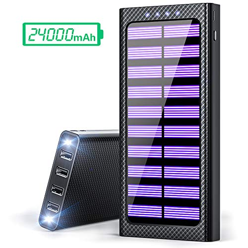 - Solar Portable Charger 24000mAh Power Bank High-Speed Charging Huge Capacity External Battery Packs Chargers with 3 Inputs& 4 Outputs Portable Phone Charger for Smartphone and Other Smart Devices