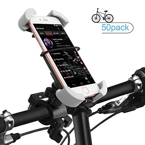 Bike Phone Holder Mount, ilikable 50 Pack Universal Bicycle Motorcycle Handlebar Cell Phone Mount Cradle for iPhone 8 8 Plus 7 7 Plus 6s 6 Plus 5s Android Smartphones by ilikable