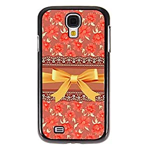ZXC Red Flower Bowknot Pattern Mirror Smooth Back Hard Case with HD Screen Film 3 Pcs for Samsung S4 I9500