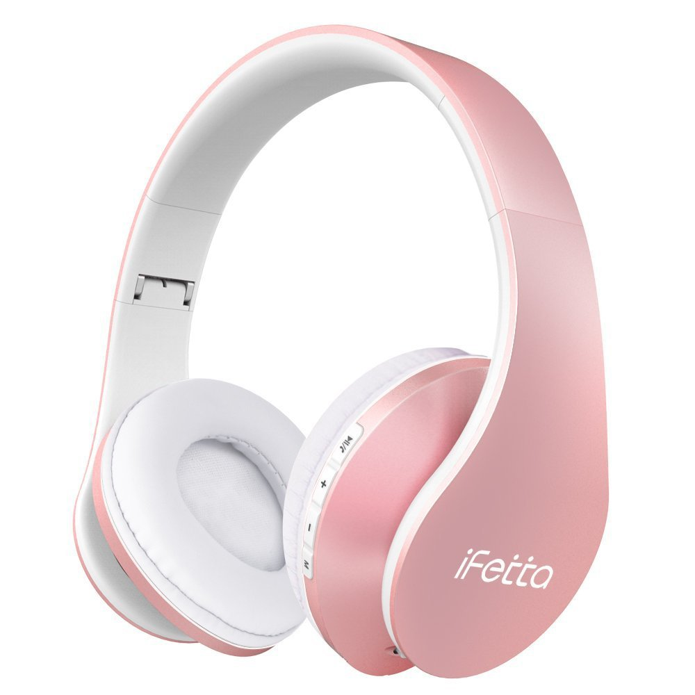 Ifecco Bluetooth Headphones, 4 in 1 Upgrade Bluetooth Foldable Over-ear Headsets with Micro Support SD/TF Card for Bluetooth-enabled Devices (Rose Gold)