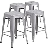 Modern Counter Stools 24'' High Backless Silver Metal Indoor-Outdoor Counter Height Stool with Square Seat (Pack of 4)