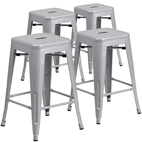 4 Pk. 24'' High Backless Silver Metal Indoor-Outdoor Counter Height Stool with Square Seat