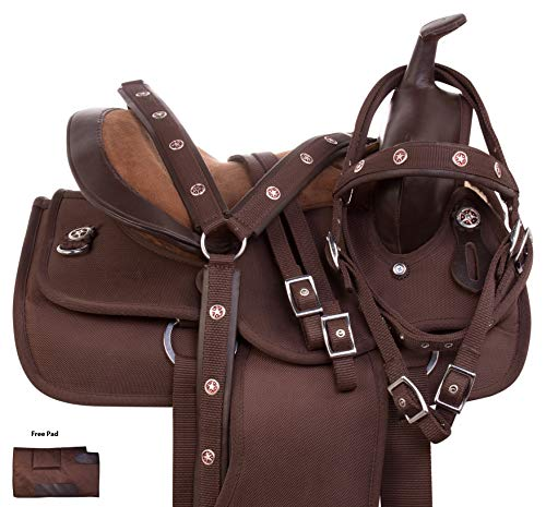 AceRugs Brown Synthetic Cordura Youth Kids Western Trail Horse Pony Saddle TACK Set Headstall REINS Breast Collar (10)