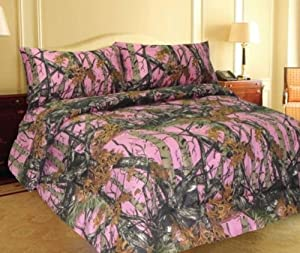 Pink Woodland Camo Comforter Spread 1 Piece - King -