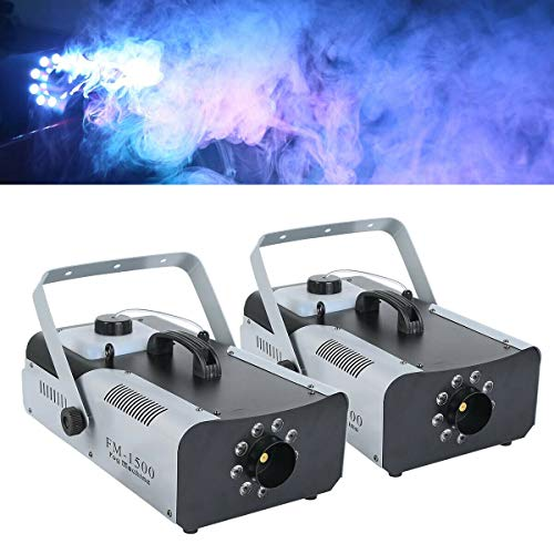 Tengchang 2PCS 1500 Watt Smoke Fog Machine 9 LED Lights Remote Control DJ Party Stage Fogger