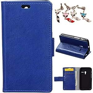 Mobilefashion Funda de PU Cuero Case para Alcatel One Touch Pixi 3 4.0 OT4013D (4.0 inch) (Azul) Con Soporte Plegable y Ranura para tarjeta + 1x Color al azar gratis tapón de polvo