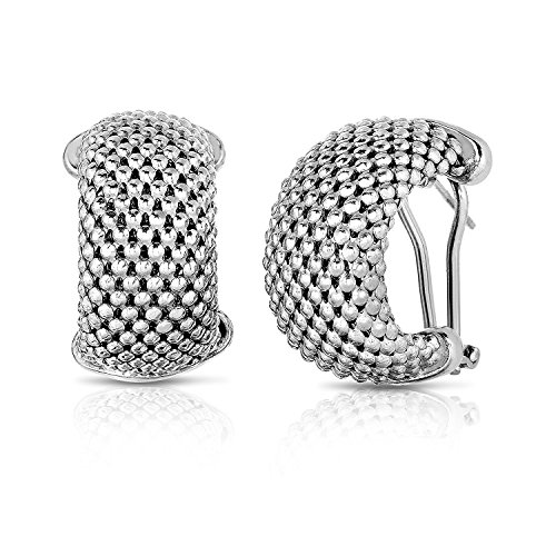 MCS Jewelry Sterling Silver Yellow, White OR Rose Gold Plated Mesh Earrings (Length: 22 mm) (White)
