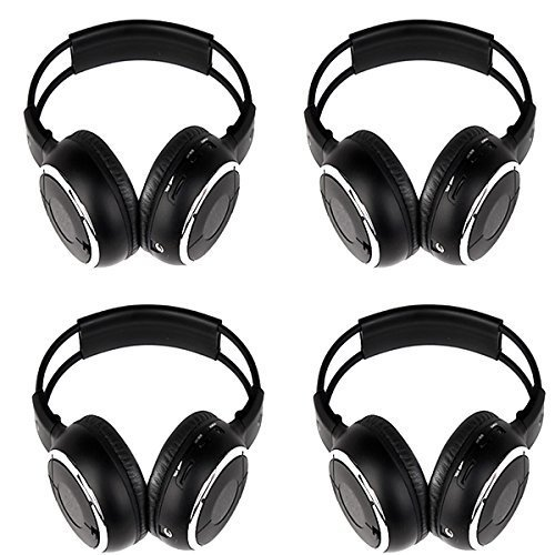 OUKU®Four Packs of Two Channel Folding Adjustable Universal Rear Entertainment System Infrared Headphones Convenient Wireless IR DVD Player Head Phones for in Car TV Video Audio Listening