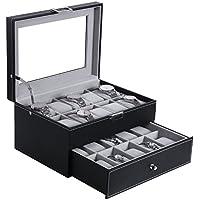 BEWISHOME Watch Box Organizer 20 Men Display Storage Case Metal Hinge Black PU Leather Glass Top Large Holder SSH04B