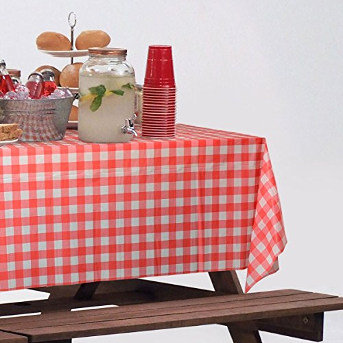 (2 Rolls) Red Gingham Plastic Tablecloth Roll With Cutter, 100' x 52'' - Heavy Duty Party Table Cloth In Self Cutting Box - For Picnics, BBQs, and Birthday Parties 2 Pack - By Clearly Elegant by Clearly Elegant (Image #2)