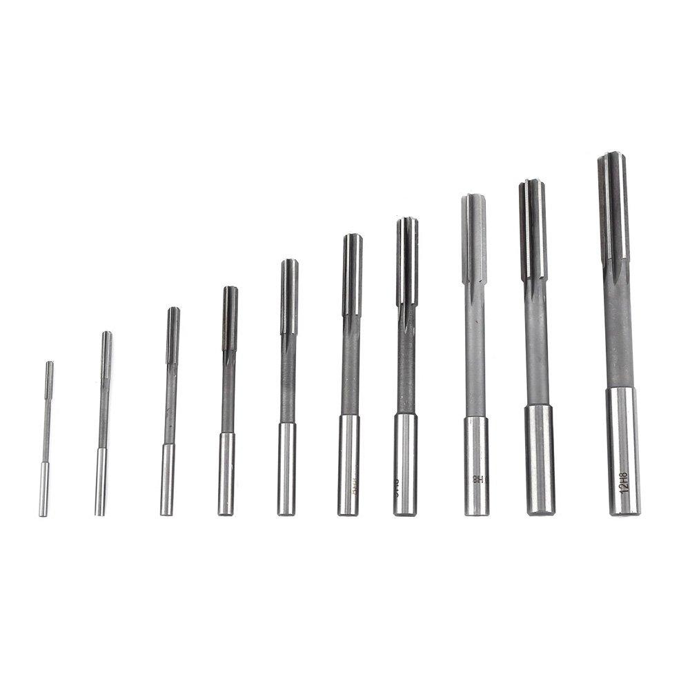 Breynet 10pcs High Speed Steel HSS H8 Straight Shank Chucking Machine Reamer Milling Cutter Tool Set 3mm 4mm 5mm 6mm 7mm 8mm 9mm 10mm 11mm 12mm Reamer Cutting Tool