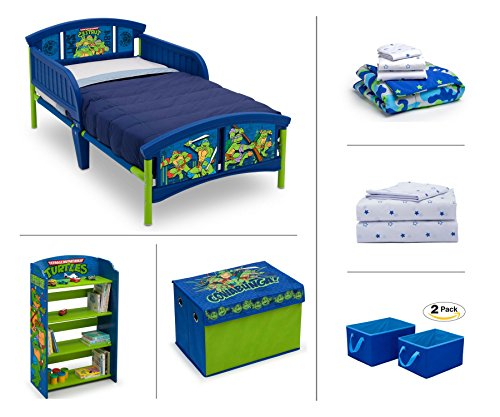 Nickelodeon Teenage Mutant Ninja Turtles (TMNT) Toddler Room Set, 6-Piece (Toddler Bed | Bookcase | Fabric Toy Box | Bedding Set | Storage Bins | BONUS Sheet (Boys Bookcase Bed)
