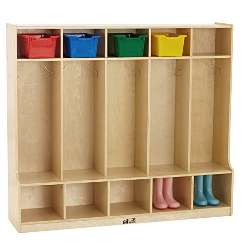 - ECR4Kids Birch School Coat Locker for Toddlers and Kids, 5-Section with Bench, Natural