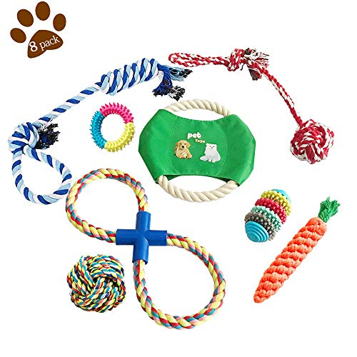 (Aolfay Puppy Teething Toys - Dog Rope Chew Toys, 8 Pack Dog Playing Toys Set for Teeth Cleaning and Separation Anxiety, 100% Natural Cotton Indestructible Dog Teething Chew Toys for Small & Medium Dog)