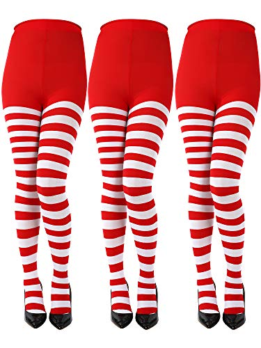 Sumind 3 Pairs Christmas Full Length Striped Tights Thigh High Stocking for Women Christmas Saint Patrick's Day (Red/White, Adult Size)