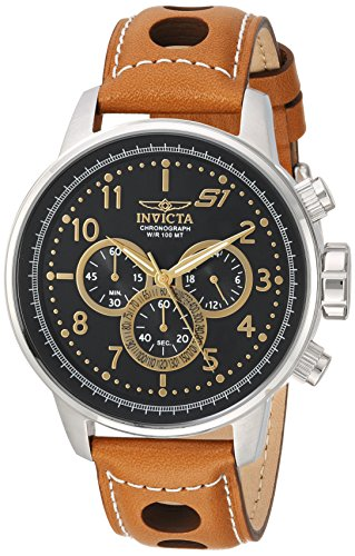 Invicta Men s S1 Rally Stainless Steel Quartz Watch with Leather-Calfskin Strap, Brown, 22 Model 23597