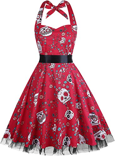 OTEN Womens Vintage Polka Dot Halter Dress 1950s Floral Sping Retro Rockabilly Cocktail Swing Tea Dresses, Large, Sugar Skull ()