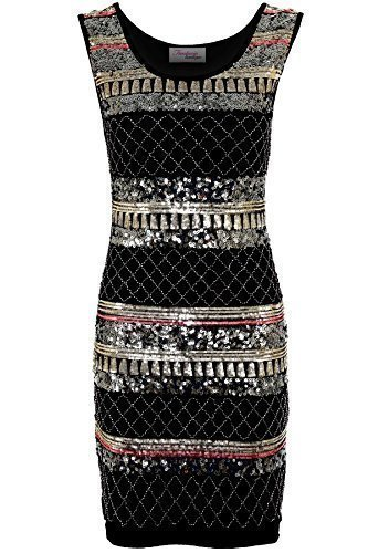 7f13f464120 Fantasia Ladies Gold Black Sequin Aztec Embroided Pattern Women s Bodycon  Dress 8 - 14 Aztec