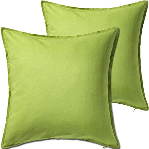 2 Pack Solid Light Green Decorative Throw Cushion Pillow