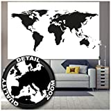 world map poster black and white - Poster - Black and White Wold Map - Poster Atlas Decoration Earth Picture Wallpaper Globe Graphic Mural Wall Decor Image (55 x 39.4 Inch/ 140 x 100 cm)