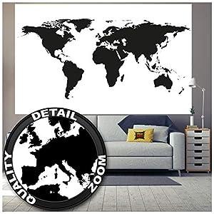 GREAT ART Mural de pared – Mapa mundial en blanco y negro – Mapa Continentes Mapa del mundo Globo Tierra Geografía mundial Foto Papel Pintado Y Tapiz Y Decoración (210 x 140 cm)
