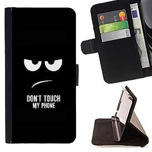 - Funny - DON'T TOUCH MY PHONE - - Prima caja de la PU billetera de cuero con ranuras para tarjetas, efectivo desmontable correa para l Funny HouseFOR Samsung Galaxy Note 4 IV