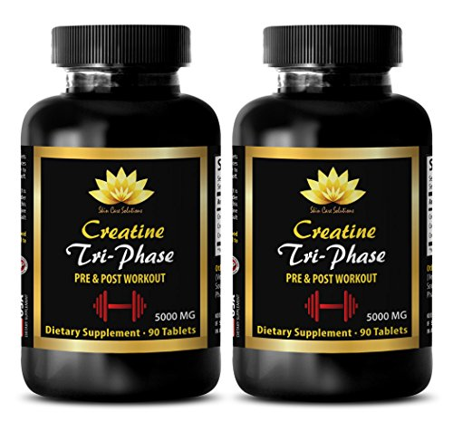 Enhancement pills for men pack - CREATINE TRI-PHASE 5000 Mg - PRE & POST WORKOUT - creatine hcl powder - 2 Bottles (180 Tablets)
