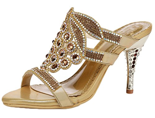 Littleboutique Womens Rhinestone Studded High Heels Strappy Dress Sandals Leather Heeled Sandals gold 8