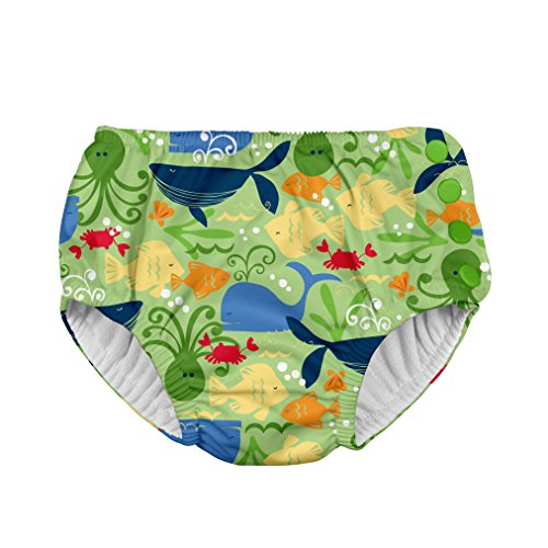i play. Boys' Baby Snap Reusable Absorbent Swimsuit Diaper, Green Sealife, 6mo