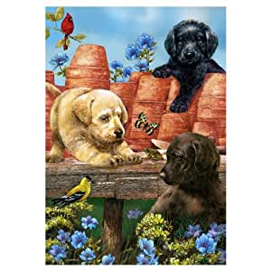Garden Puppies - Decorative Standard Flag 28 Inches X 40 Inches