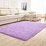 YJ.GWL Soft Shaggy Purple Area Rugs for Girls Bedroom Kids Room Children Playroom Non-Slip Baby Nursery Carpets Home Décor Rug 4 Feet x 5.3 Feet