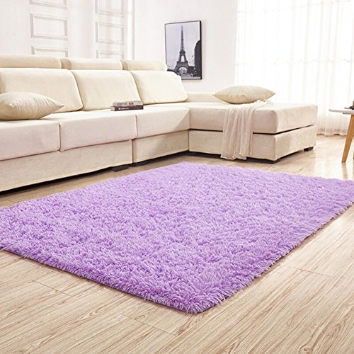 YJ.GWL Soft Shaggy Area Rugs for Bedroom Kids Room Children Playroom Non-slip Living Room Carpets Nursery Mat Home Décor Rug 4 Feet by 5.3 Feet(Purple) (Covered Slip Sofa)