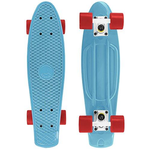 - Cal 7 Complete Mini Cruiser Skateboard, 22 Inch Plastic in Retro Design (Blue/White/Red)