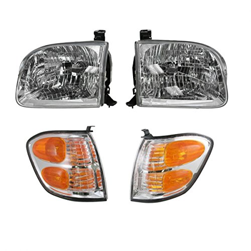 Headlights & Parking Corner Lights Left & Right Kit Set for Tundra Sequoia - Headlight Parking Light Set