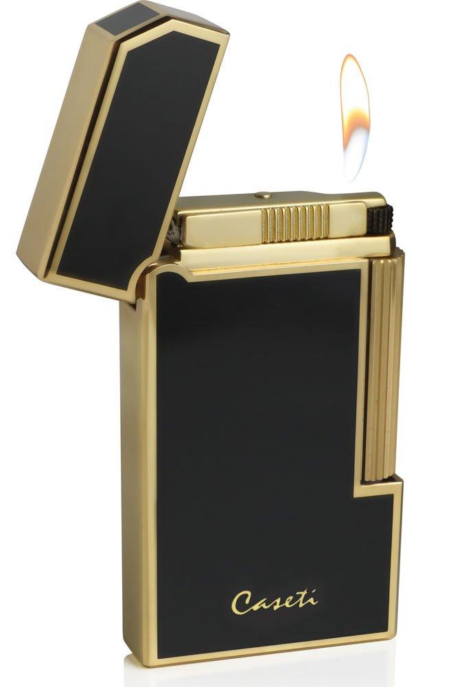 Visol Caseti Windsor Gold Plating With Black Lacquer Flint Traditional Flame Lighter