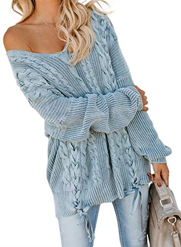 Ecrocoo Women's Off Shoulder Long Sleeve V-Neck Ribbed Cable Pullover Sweaters