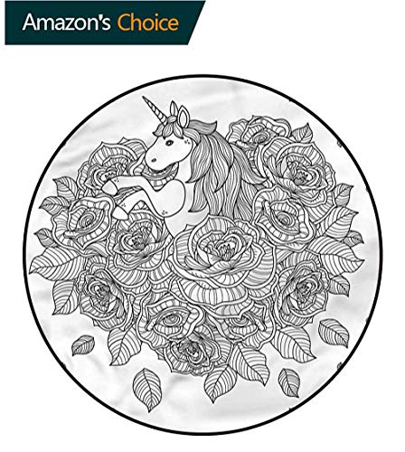 (RUGSMAT Unicorn Modern Washable Round Bath Mat,Roses Bouquet Tattoo Style Foam Mat Bedroom Decor Round-71)
