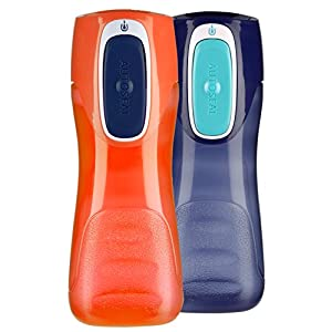 Contigo AUTOSEAL Trekker Reusable Kids Water Bottle, 14oz, Navy and Nectarine, 2-Pack
