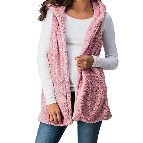 Hooded Vest, Toimoth Womens Winter Warm Hoodie Vest Zip Up Coat Sherpa Jacket Outwear(PinkA,XXL)