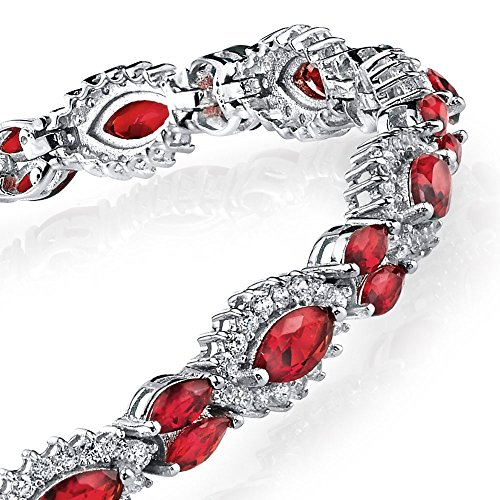 Marquise Ruby Simulated - 925 Sterling Silver Marquise Simulated Red Ruby & Diamond Tennis Bracelet