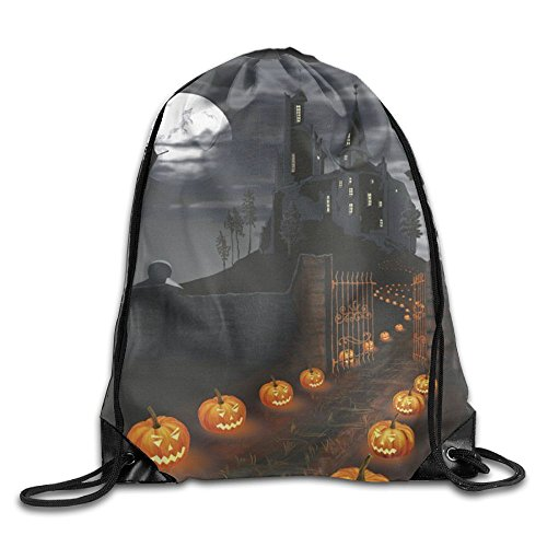 Halloween Castle With Pumpkins Drawstring Bags Portable Backpack Sport Daypack -