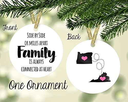 Personalized Porcelain Side by Side or Miles Apart, Family Custom Ornament, Any State