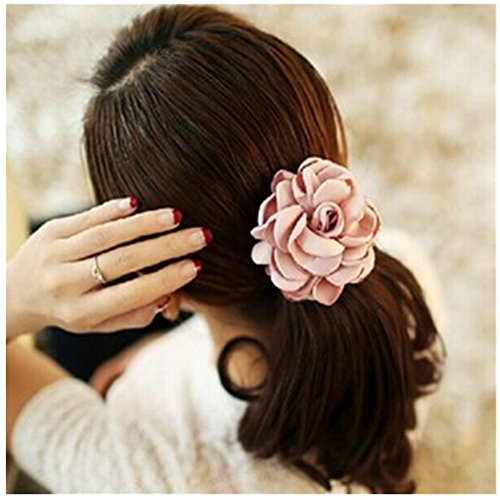 Lovef Jewelry Women Girl 6pcs(mixed Color) Cloth Rose Flower Design Ponytail Holders Hair Tie Assorted Rope Rubber Bands Accessories ()
