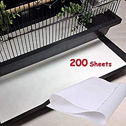 Bonaweite Disposable Non-Woven Bird Cage Liners Papers, Parrot Pet Cages Cushion Pad Mat Accessories, Square-200 Sheets