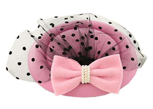 [Women's Fascinators Hat Pillbox Hat Cocktail Party Hat with Veil Hair Clip (Pink)] (Ethnic Hats)