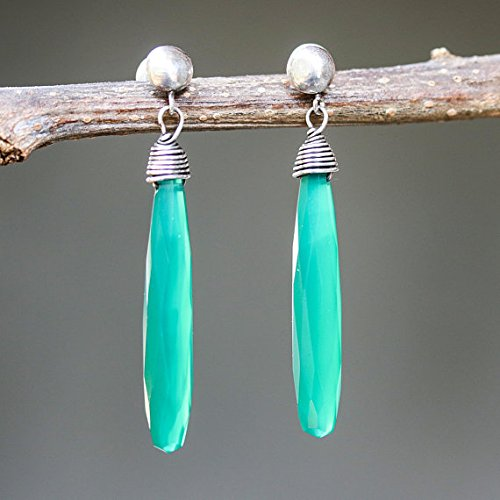 Green onyx faceted earrings with silver wire wrapped on sterling silver post style