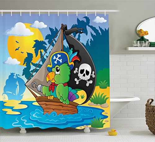 Ambesonne Parrots Decor Collection, Image with Pirate Parrot Themed Boat Danger Skull Crossbones Hat Sun Comic Cartoon Print, Polyester Fabric Bathroom Shower Curtain Set with Hooks, Blue (Cartoon Pirate Hat)