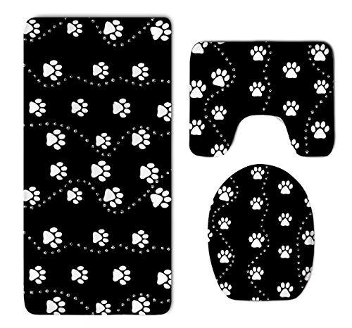 HOMESTORES Dog Paw Print Style Black Bathroom 3-Piece Mat Sets Pedestal Mat+Lid Toilet Cover+Bath Mat Doormat Non-slip Rug