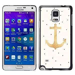 iKiki Tech / Estuche rígido - Dot Gold Anchor Sailor Boat Captain - Samsung Galaxy Note 4 SM-N910F SM-N910K SM-N910C SM-N910W8 SM-N910U SM-N910